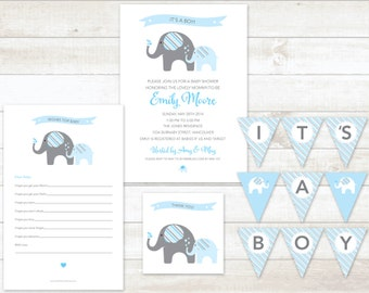 blue elephant baby boy shower invitation 4pc party pack baby boy shower party set baby boy shower games baby boy shower invite