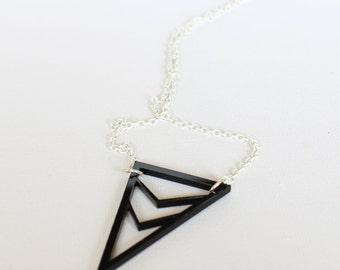 Black Laser cut acrylic triangular necklace