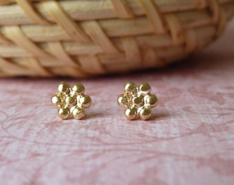 Gold Stud Earings - Handmade Flower Shape