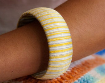 Grey and Mustard Theaded Bangle