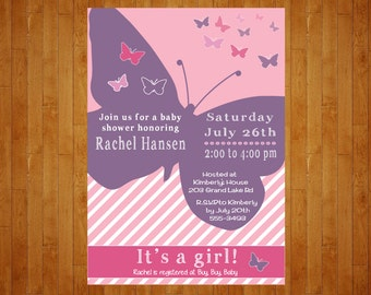 Butterfly Baby Shower invitation pink purple