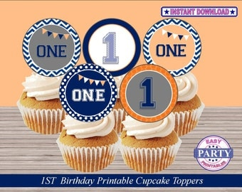 ONE -First Birthday Instant Download Cupcake toppers, orange and blue, easily print from home, cupcake toppers, first birthday, boy birthday
