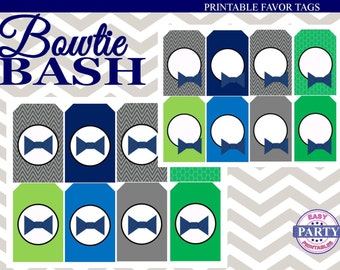 SALE Bowtie Bash Editable favor tags, Instant Download, Blue and Green, Coordinating Items available for purchase, little man, bowtie