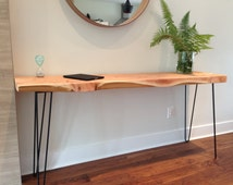 """Console Table- Wood Desk- Plant Stand- Sofa Table-Entryway Table-Mid Century-Hairpin Legs- 15"""" W x 58"""" L x 30"""" H x 1.25"""" T-Vancouver, BC"""