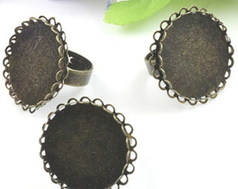 8pcs Antique Bronze Metal Adjustable Lace Ring Base with 25mm Pad Cameo Setting.