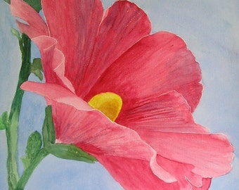Pink Hollyhock...Large flower painting... Original Watercolor Painting.. Large Watercolor