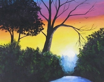 Colorful Sunset.........Original Acrylic Painting