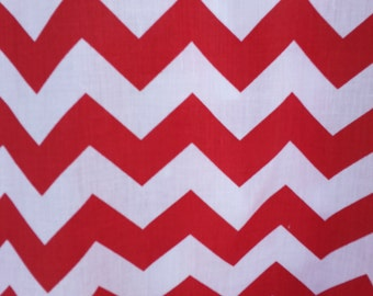 """Zig Zag Chevron Polycotton Fabric - White/Red (1"""") - Sold By The Yard - Poly Cotton"""