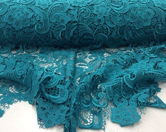 Teal Flower Embroider Lace. Sold By The Yard.36x45inches.