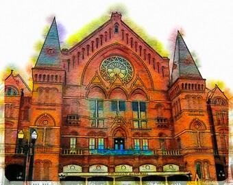 Cincinnati Music Hall: Photographic Watercolor Art of the Famous Music Hall in Cincinnati, Ohio