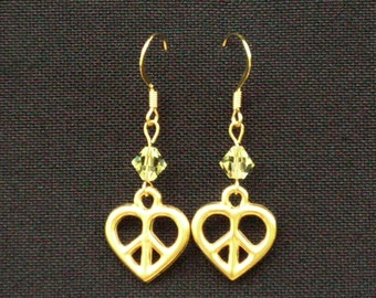 Heart with peace sign in middle and Crystal Earrings