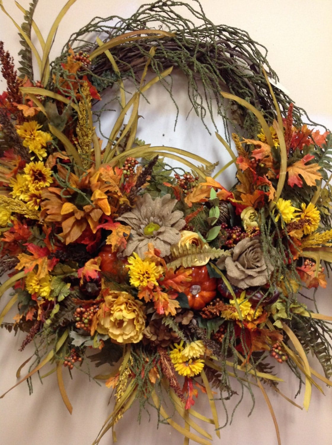 Large wall floral arrangement fall colored by for Picture arrangements for large walls