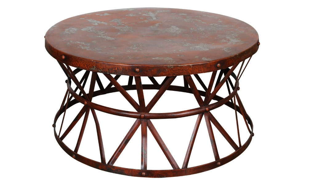 Distressed Industrial Steel Cocktail Table Red Or By Wanderloot