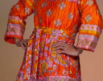 1970's Quilted Orange Housecoat by Joseph Magnin