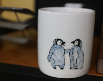 Hand painted animal mug cup - Cute mug cup - Baby Penguin mug cup 2