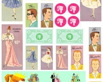 Vintage Barbie Game - Ephemera - Clip Art - Digital Collage Sheet - Printable - Instant Download