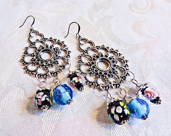 ANTIQUE SILVER DROPS. 3 glass beads at bottom. Antique silver jewelry. Beaded jewelry. Large earrings. Bold earrings - 0010+