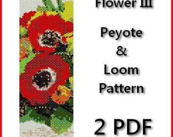 Flower III loom pattern, peyote pattern, loom bracelet, peyote bracelet, loom cuff pattern, poppies peyote, loom bead patterns, wide cuff