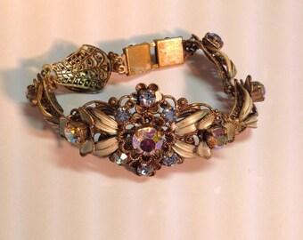 Vintage Mid Century Germany Rhinestone Enameled Bracelet