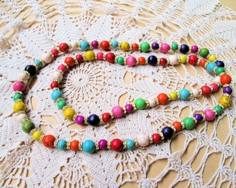 Handmade Unique Multi-color Howlite Turquoise Beads Necklace