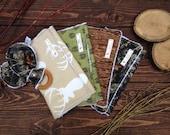 BUCKS, TRACKS & RUBS™ Burp Cloths – Set of 4 plus Organic Teething Ring - Bucks, Deer Tracks, Woodgrain and Real Tree Camo - Hunting baby