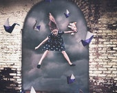 Crossing Your Dream Threshold - Girl Jumping Through Dreams, Origami Birds, Surreal Photography, Art Decor