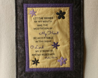 SALE Embroidery Art Quilt - Psalm 19:14