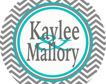 Gray Chevron Personalized Room Sign. Great on a dorm door! Match the colors of the room. Triples or Quads too!