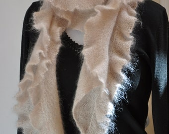 Ruffled Mohair and Silk Knitted Scarf