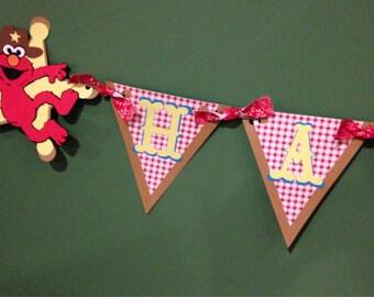 Elmo Cowboy Happy Birthday Triangle Banner