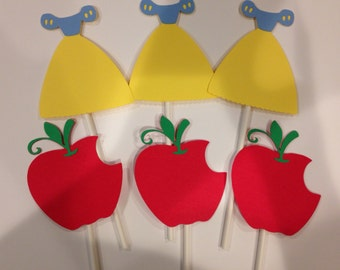 12 Snow White Cupcake Toppers