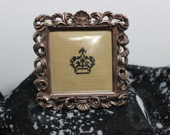 Cross Stitched Framed - Crown