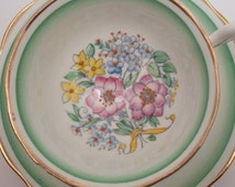 Royal Albert Fine Bone China Tea Cup and Saucer Hand Painted Pink Purple Blue Yellow Floral Bouquet Yellow Ribbon Green Border