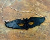Bat Mask Pendant Leather - Animal - Halloween - Masquerade