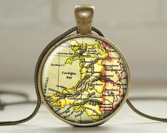 Vintage Welsh Map 25mm Pendant and Chain with Giftbox