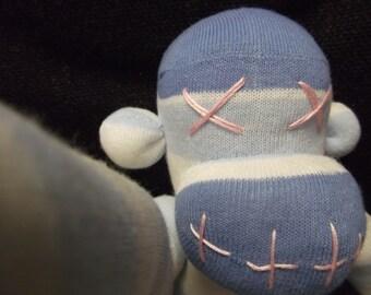 Stripey Sock Monkey (Doll Plush Pink Blue)