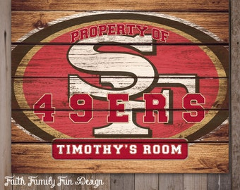 Nfl san francisco 49ers team sign printable personalized for 49ers room decor