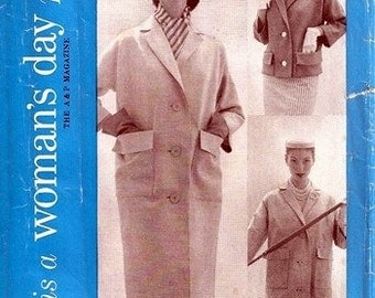"Woman's Day 5087 ""The Coat Hit of the Year"" 1950's / SZ12 FACTORY FOLDS"