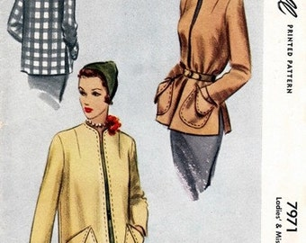 McCall 7971 Eye Popping Short Coat 1950 / SZ14 UNCUT