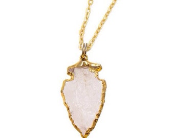 Crystal Quarts Gold Plated Arrow Head Necklace