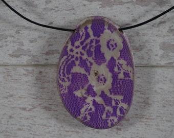 Wood  (Walnut) necklace, Purple FLOWERS