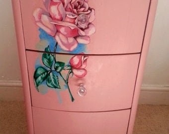 Vintage Set of Drawers Hand Painted with Retro 1950s Tattoo Design