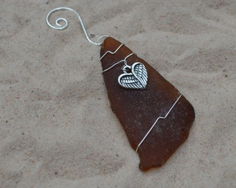 Amber Brown Sea Glass Ornament with Angel Wing Heart