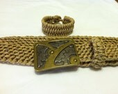 Tan with black, brown & white specks paracord belt with gears buckle - free bracelet