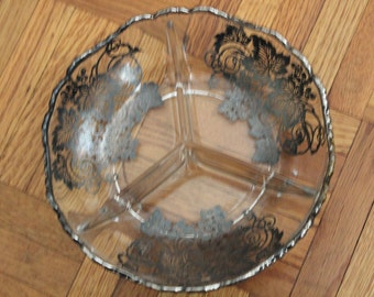 Vintage relish dish with silver leaf