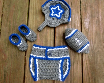 Dallas Cowboys Color Baby Set 4 piece with hat, booties, diaper cover, stuffed football- Baby boy or baby girl Dallas Cowboys colors
