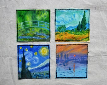 Monet and Van Gogh impressionist hand-painted patches