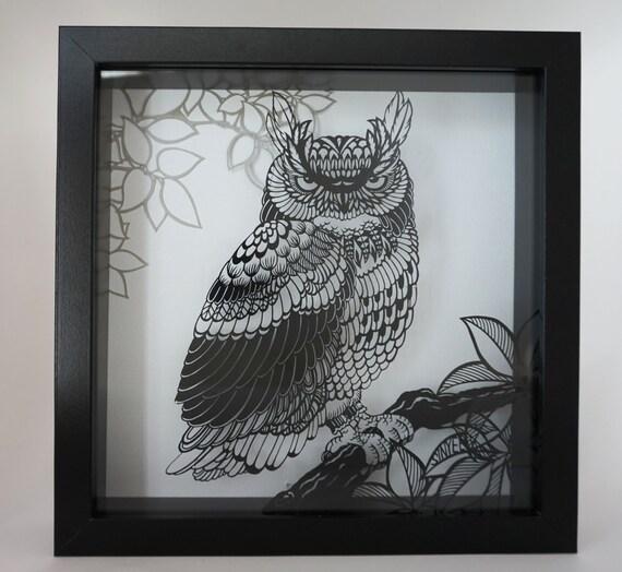 Layered Handmade Paper Cut Owl Framed In Shadow Box Wall