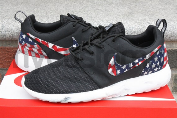 Nike Roshe Run Black Marble American Flag Pride Custom Men