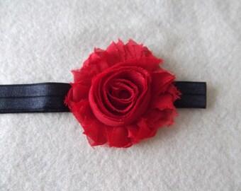 Red Shabby Flower on Black Elastic Headband, Baby girl Headband, Newborn Headband, Girls, Toddlers